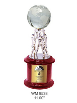 WM Customized Metal Globe Holding Trophy with Wooden Base creative awards and gifts @ creativeawardsandgifts.in